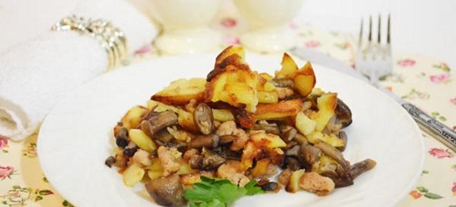 Жареная картошка с вареными опятами