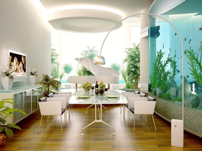 Дизайне квартиры с аквариумом