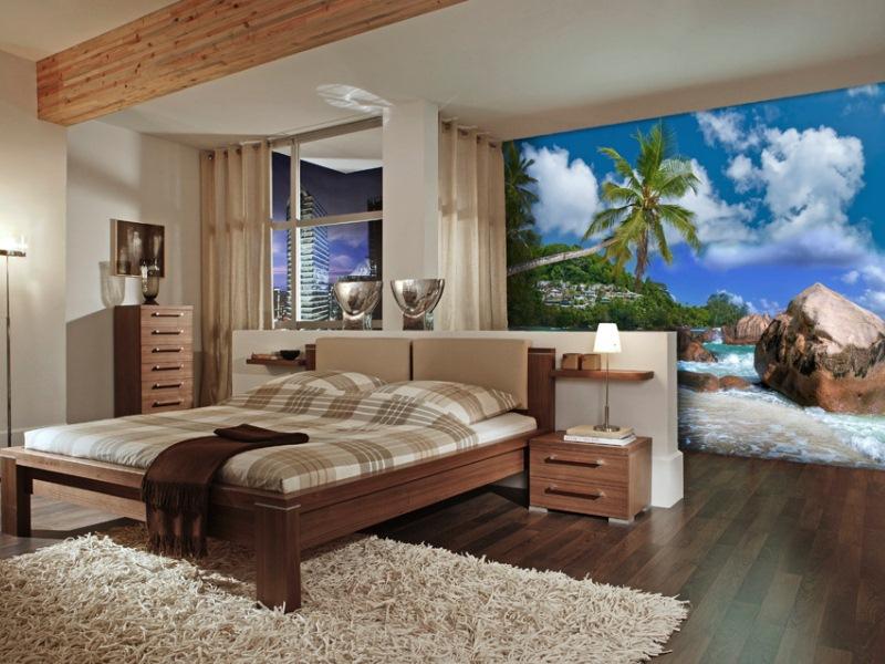 Фото интерьера спальни с фотообоями море