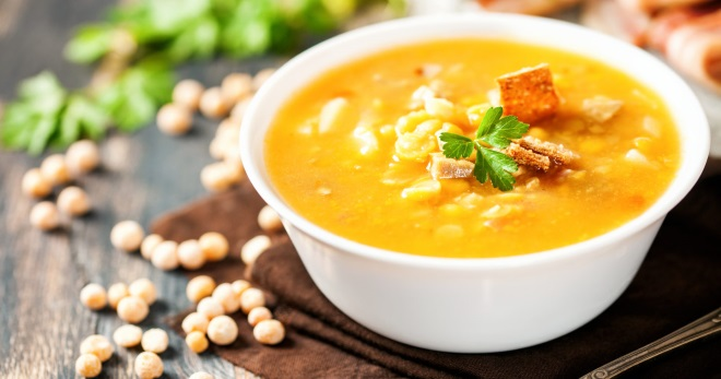 Гороховый суп – классический рецепт, с копченостями, курицей, колбасой, говядиной и без мяса