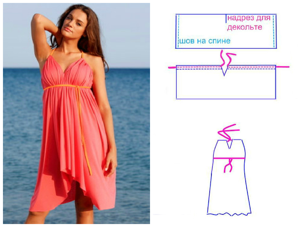 Сшить пляжное платье своими руками быстро и без выкройки 404
