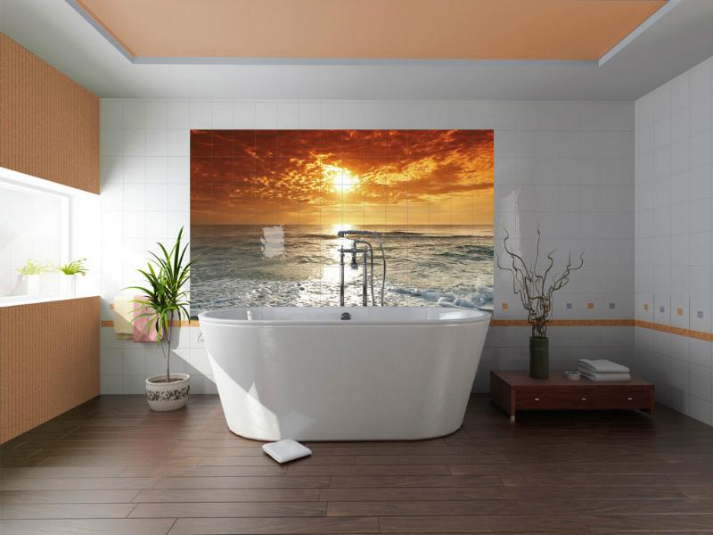 Tiling bathroom wall