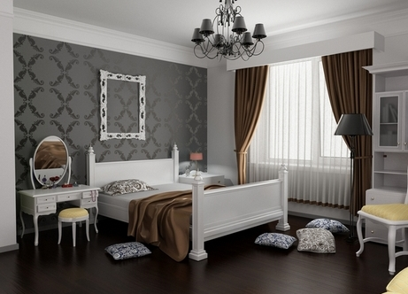 Черные обои в интерьере спальни