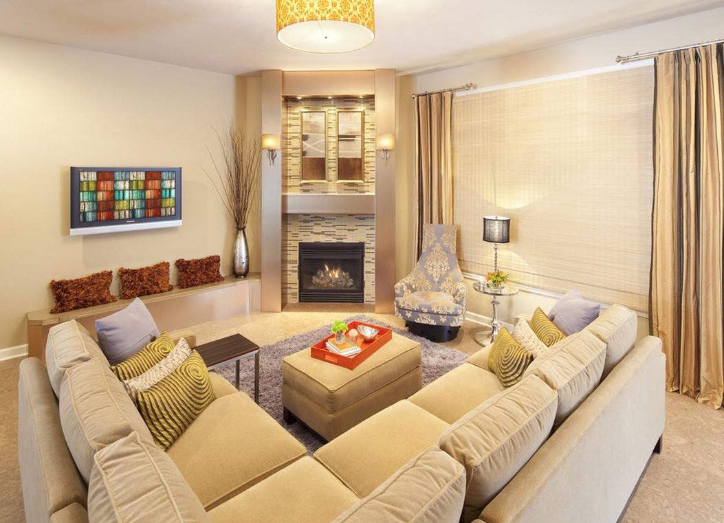 Угловые диваны в интерьере гостиной фото