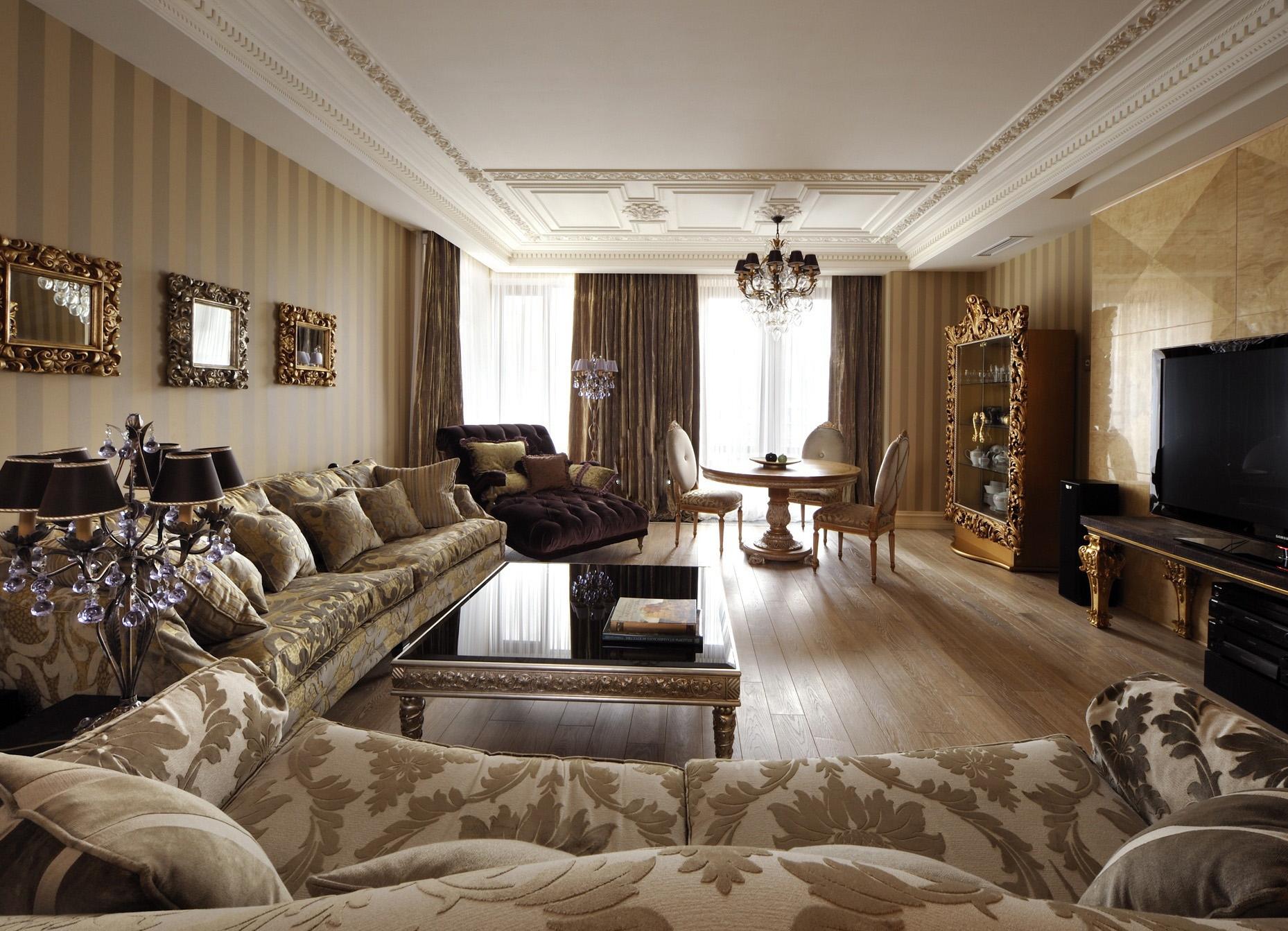 гостиная в классическом стиле в бежевых тонах фото