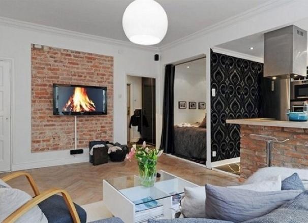 Дизайн комнаты с кирпичами