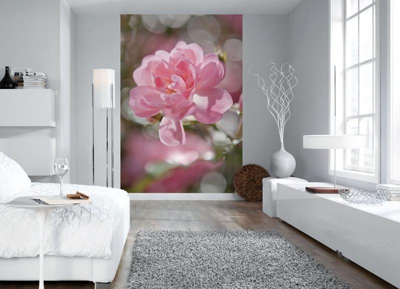 Дизайн спальни с фотообоями с цветами