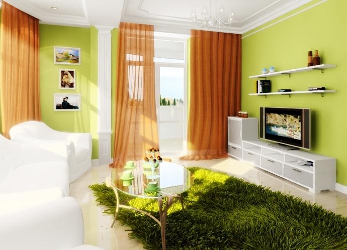 интерьер гостиной в зелёных тонах фото