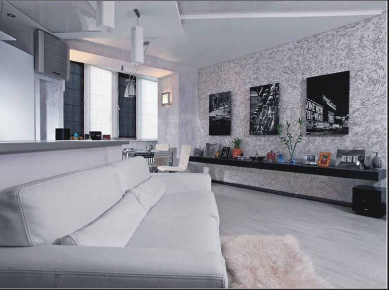 Интерьер гостиной с белыми обоями 1