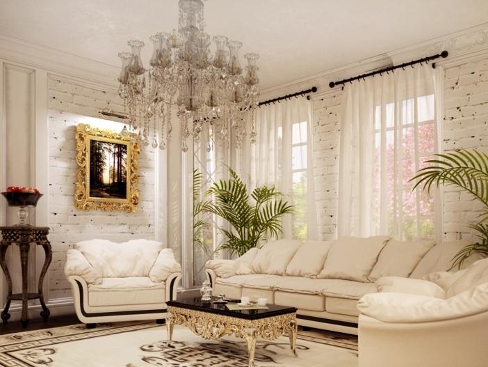 Интерьер гостиной в частном доме. фото
