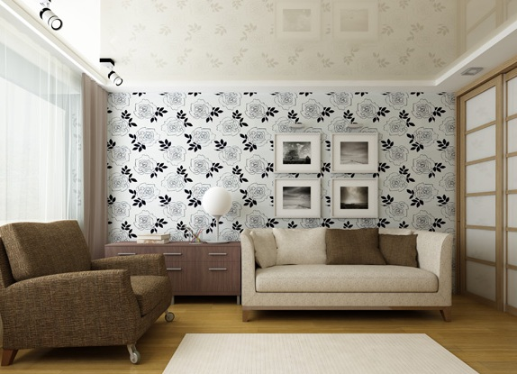 фото обоев на стенах для зала