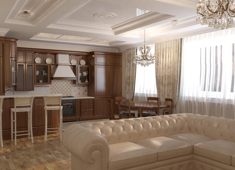 Дизайн кухня+зал фото