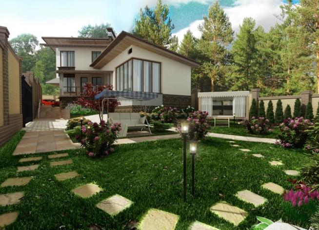 Дизайн дворовой территории частного дома фото