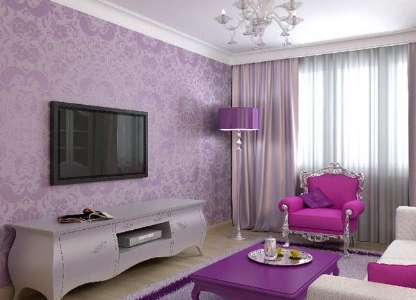 Дизайн с лиловыми обоями