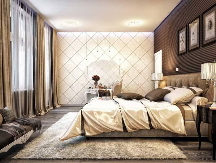фото комбинированные для спальни 2014 дизайн обои