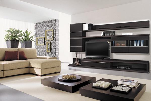 Модульные стенки в интерьере гостиной (75 фото)