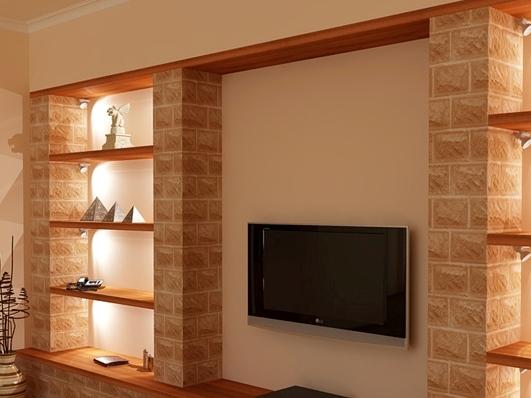 Стена для телевизора из гипсокартона своими руками 35