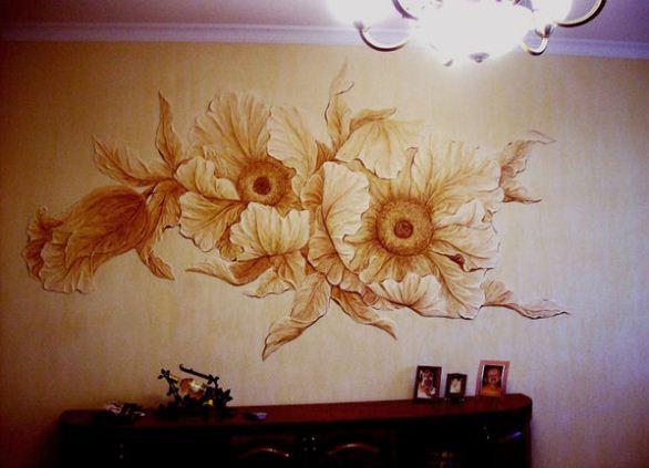 Как сделать объемный рисунок на стене штукатуркой