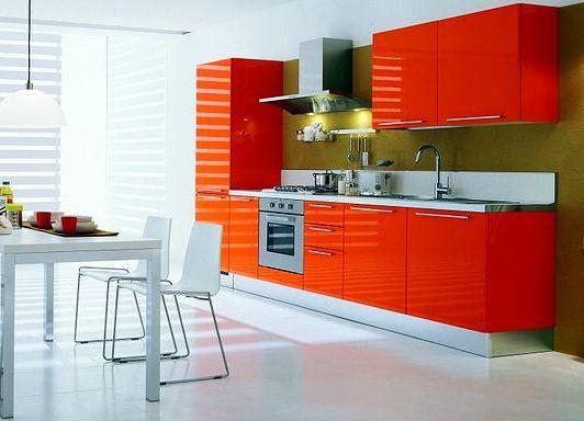 Обои на кухню оранжевый гарнитур