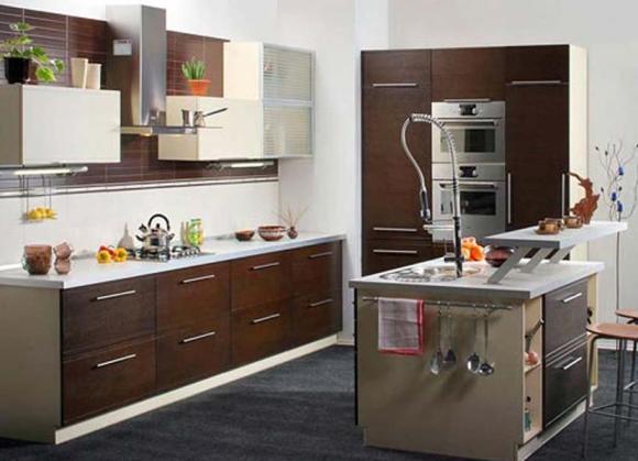 Дизайн кухни с островом в частном доме фото