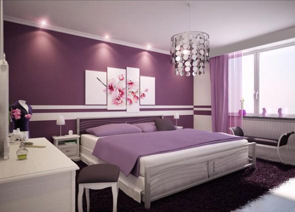 комната с фиолетовыми обоями фото