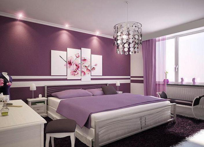 Спальни дизайн в фиолетовых тонах