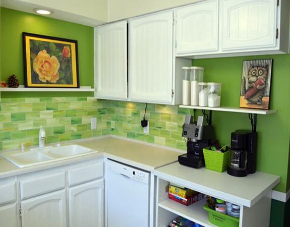 Кафель на кухню салатовый фото