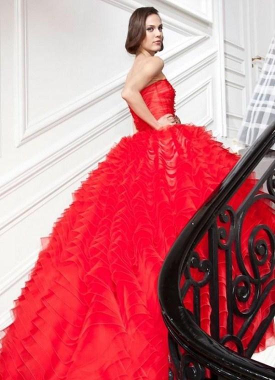 алое свадебное платье 1