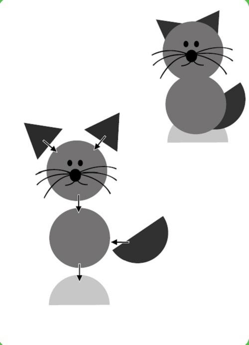 Аппликация «Кошка» из ткани