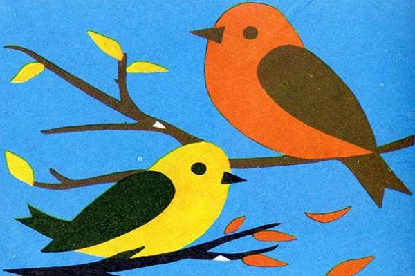 Аппликация птицы из бумаги