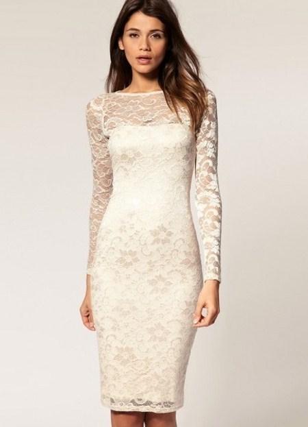 Платье футляр белое кружевное