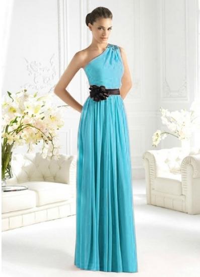 Греческое платье голубого цвета