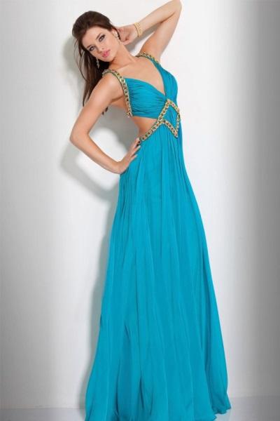 Бирюзовое платье в пол греческое