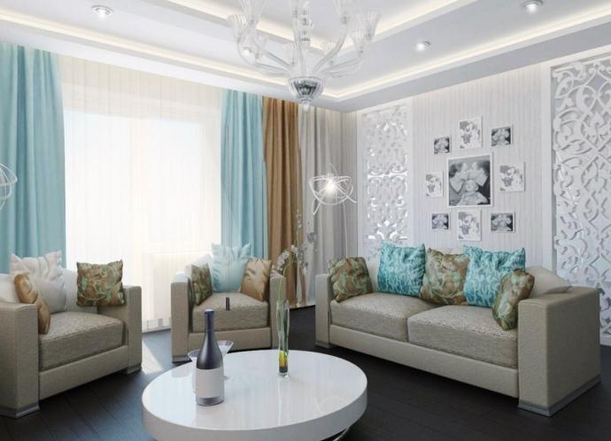 Белый интерьер с серыми шторами
