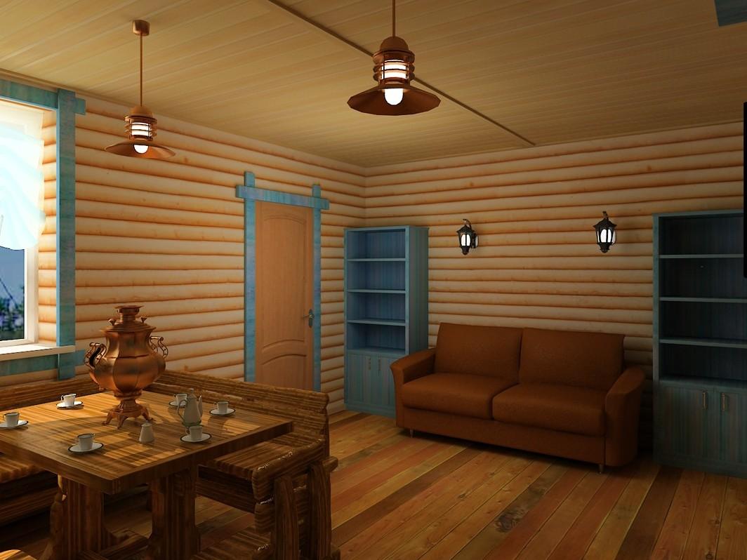 Блок-хаус в интерьере фото