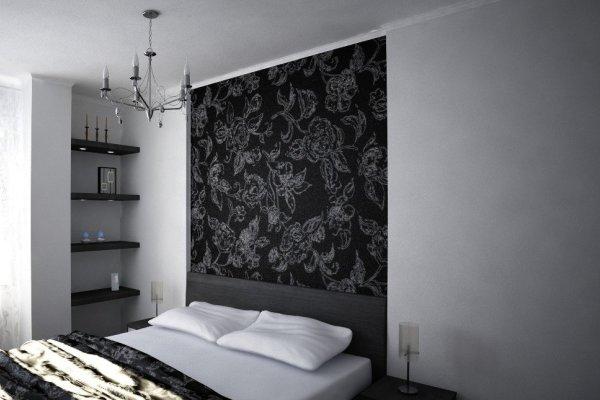 черно белые обои в спальню фото
