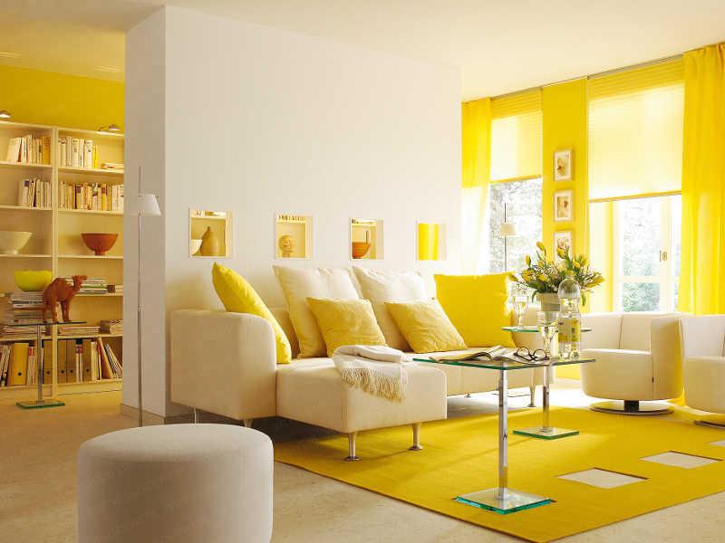 Комната в желтом цвете фото