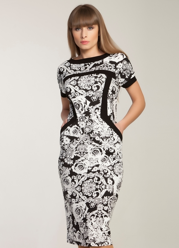 Черно-белые платья футляр