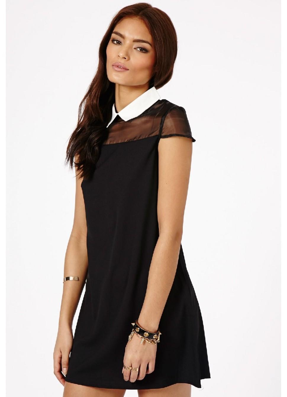 Платье до колен с белым воротником