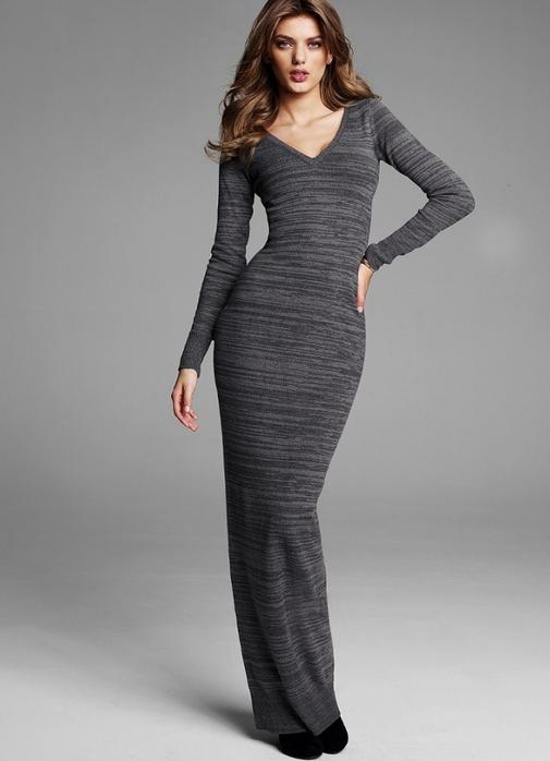 Фасоны прямого платья с длинным рукавом