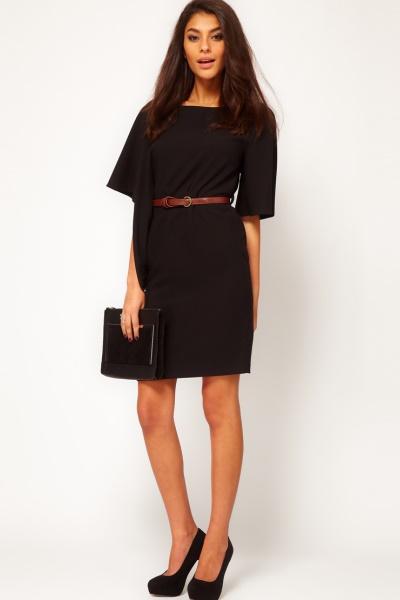 Черное платье короткое длинный рукав