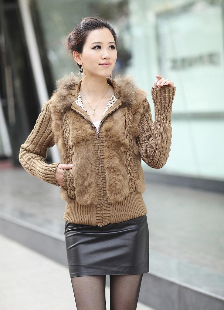 Вязаная куртка с мехом