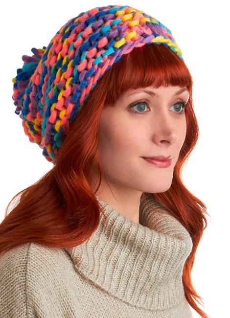 схема вязания шапки из крупной пряжи