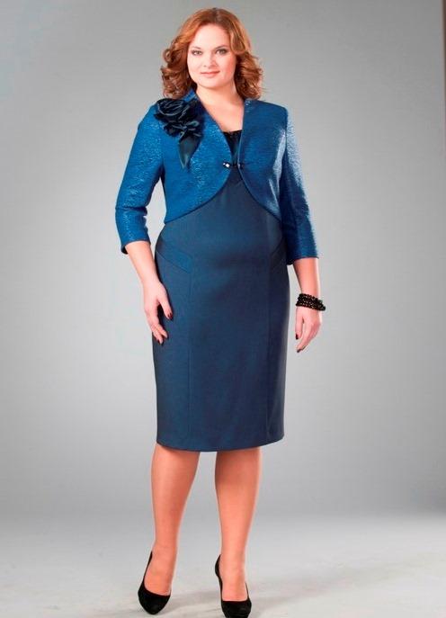 Модели нарядных и вечерних платьев, а так же костюмов 50-54 размеров, для костюм для полных женщин из жакета и