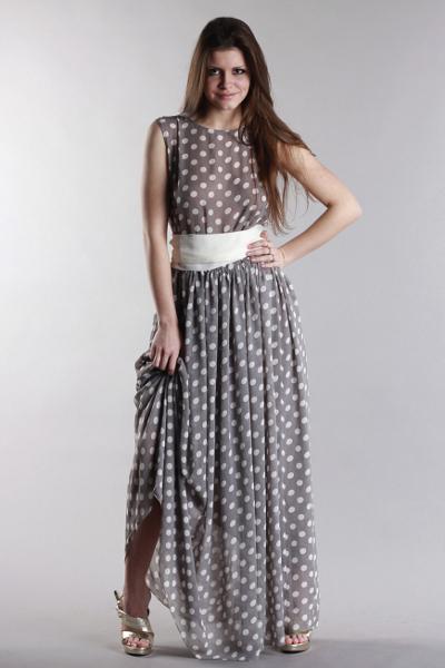 платья длинное в горошек фото