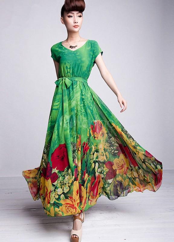картинка: dresswe.com ПОСТАВКИВеликолепная Макси Плащ Тонкий шифон длинное платье макси платья