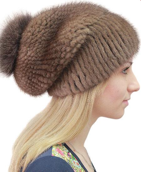 Вязаные шапки из норки