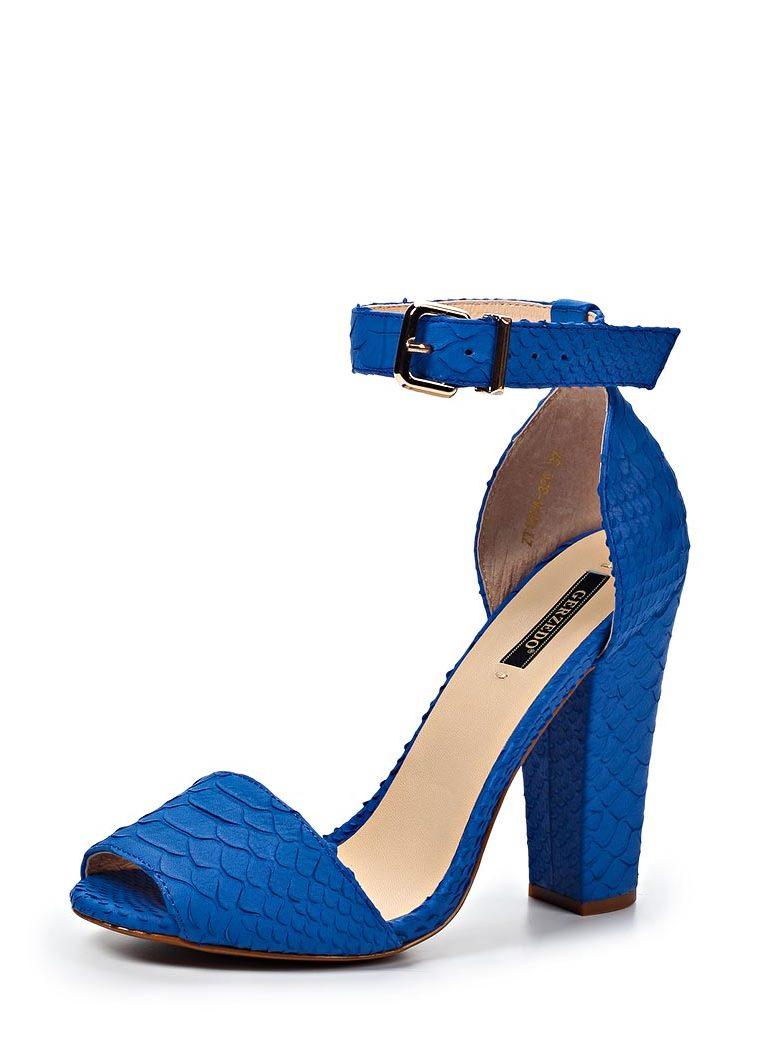 Синие босоножки на каблуке 4