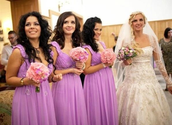 Подружки невесты фиолетовое платье