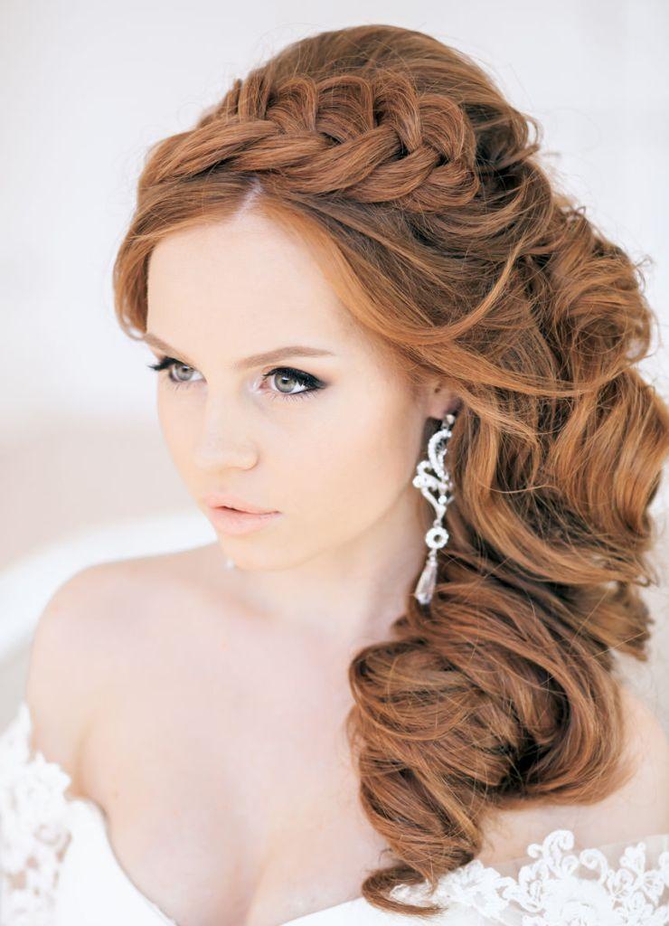 Прическа для невесты на средние волосы